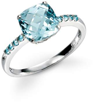 John Greed 9ct White Gold Blue Topaz Ring