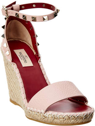 Valentino Rockstud Double Leather Wedge Sandal
