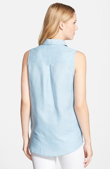KUT from the Kloth 'Donna' Sleeveless Eyelet Embroidered Chambray Shirt 3