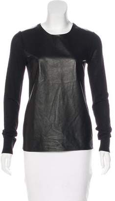 Vince Leather-Accented Wool Sweater