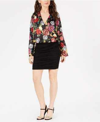 GUESS Printed Surplice Bell-Sleeve Top
