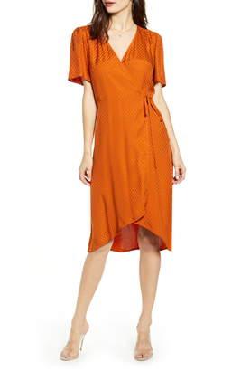 Leith Dot Jacquard Satin Wrap Dress