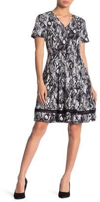 Robbie Bee Snake Print Fit & Flare Dress