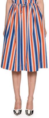 Marni Drawstring-Waist A-Line Striped Cotton Poplin Skirt