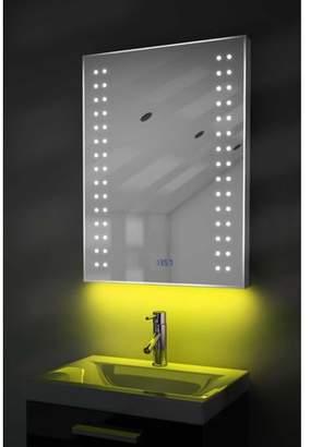 Diamond X Collection Digital Clock Slim Bathroom Mirror with Under Lighting, Demist & Sensor k186