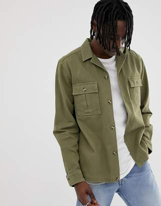 Asos Design DESIGN overshirt in khaki with double pockets