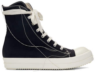 Rick Owens Black 2-Tone Stitch High-Top Sneakers