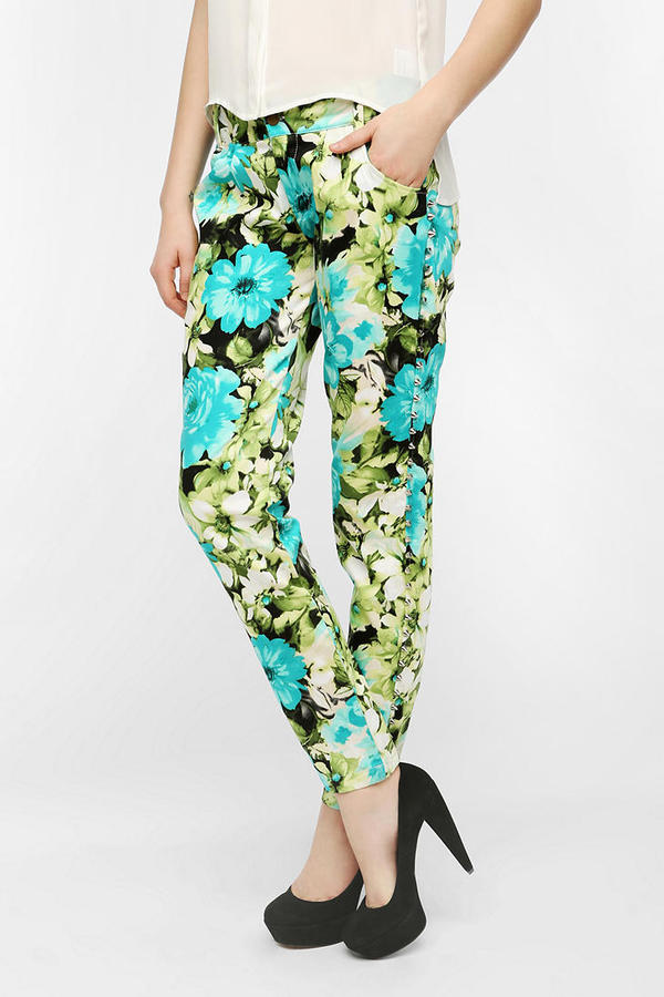 Urban Outfitters Reverse Side Stud Floral Pant