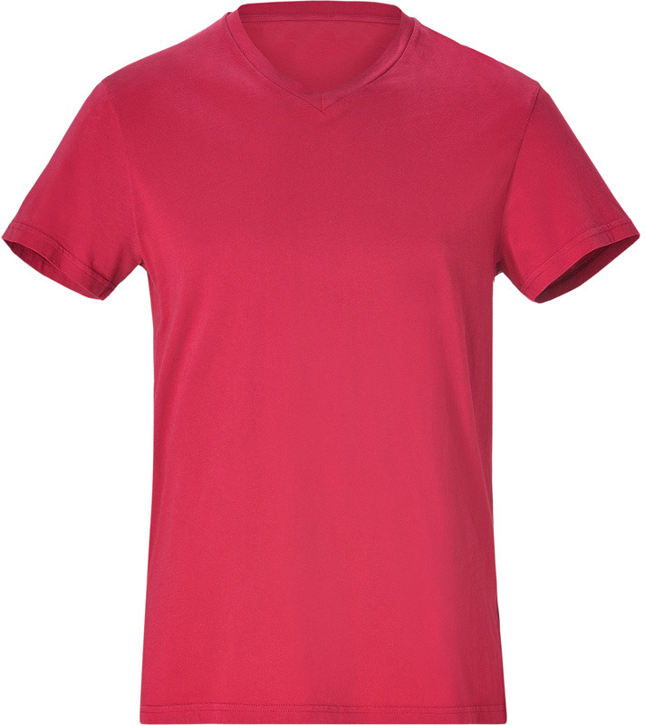 Jil Sander Crimson Red Cotton V-Neck T-Shirt