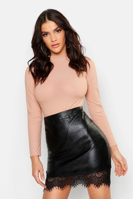 boohoo Lace Trim Leather Look Skirt
