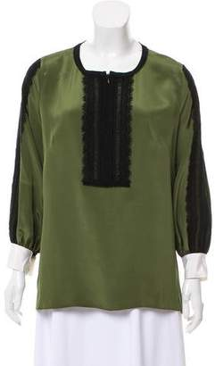 Andrew Gn Silk Lace-Accented Top