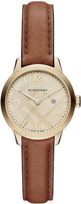 Burberry Women's Swiss Tan Leather Strap Timepiece 32mm BU10101 $795 thestylecure.com