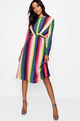 boohoo Rainbow Tie Front Midi Dress
