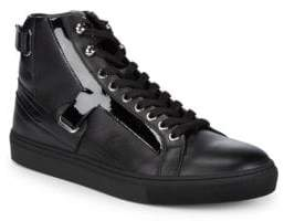 Versace Scarpe Leather Hi-Top Sneakers
