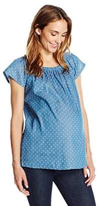Three Seasons Maternity Women's Short Sleeve Off-The-Shoulder Dot Top