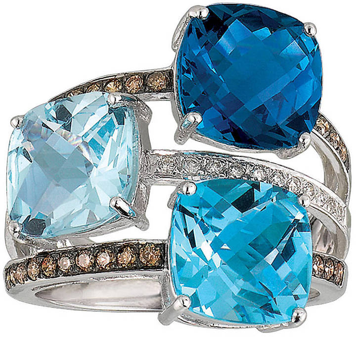 LeVian LE VIAN Blue Topaz Ring with Diamonds in 14 Kt. White Gold