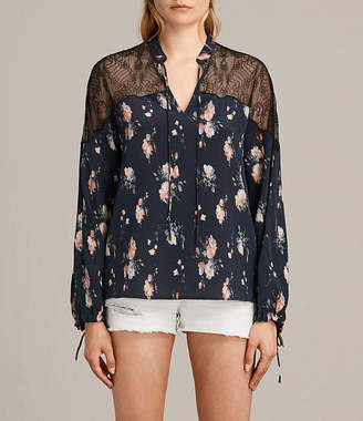 AllSaints Laya Meadow Silk Top
