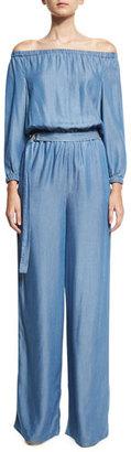 MICHAEL Michael Kors Long-Sleeve Off-the-Shoulder Jumpsuit, Blue $165 thestylecure.com