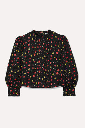 Rixo Lexi Pintucked Floral-print Cotton-voile Blouse - Black