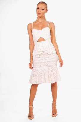 boohoo Boutique Lace Peplum Midi Dress
