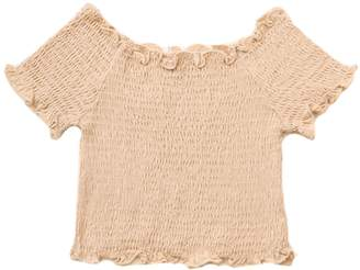 Goodnight Macaroon 'Happy' Off Shoulder Ruched Cropped Top (12 Colors)