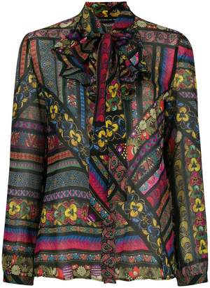 Etro ruffled neck floral blouse