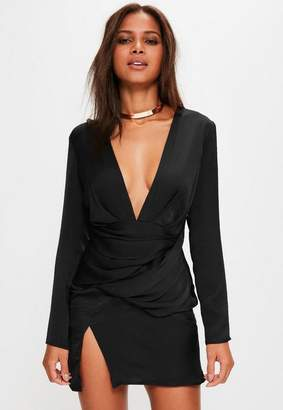 Missguided Black Silky Long Sleeve Panelled Shift Dress