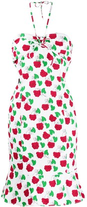 Moschino Pre-Owned raspberry print halterneck dress