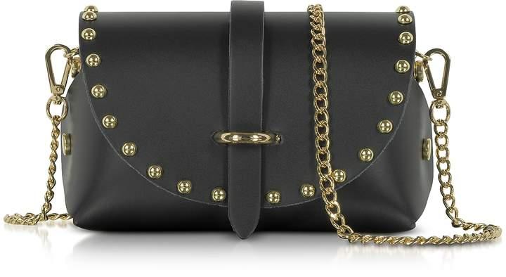 Le Parmentier Caviar Mini Black Leather Shoulder Bag w/Studs