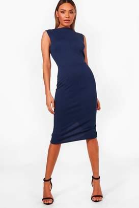 boohoo Fitted Sleeveless Midi Dress