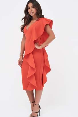 Lavish Alice Womens Scuba Frill V neck Midi Dress - Red