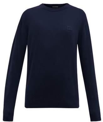 Acne Studios Nalon Face Wool Sweater - Womens - Navy