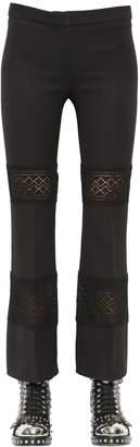 Alexander McQueen Wool & Silk Blend Crepe & Lace Pants