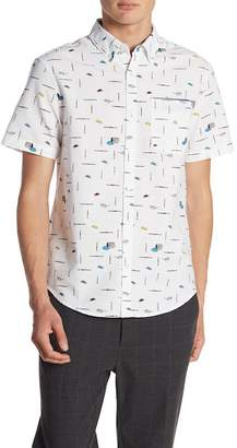 Original Penguin Short Sleeve Paint Brush Convo Print Slim Fit Oxford Shirt