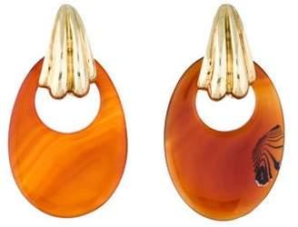14K Carnelian Door Knocker Earrings