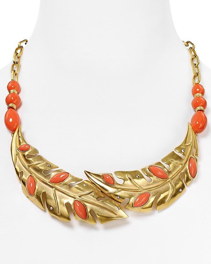 """T Tahari Tahiti Leaf Necklace, 14"""""""