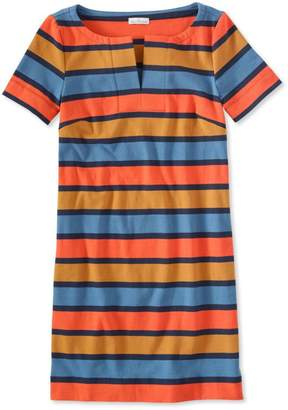 L.L. Bean L.L.Bean Signature Split-Neck Knit T-Shirt Dress, Stripe