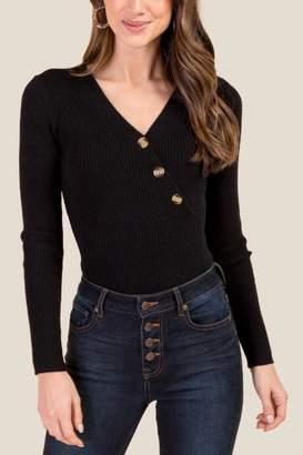 francesca's Kamryn Ribbed Bodysuit - Black