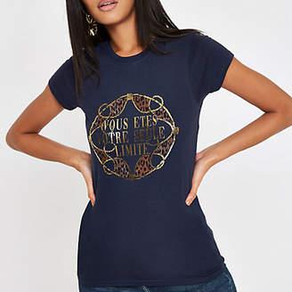 River Island Womens Navy 'Vous etes' gold foil T-shirt