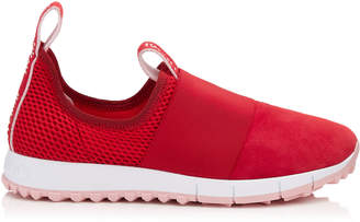 Jimmy Choo OAKLAND/F Red Mesh and Suede Trainers