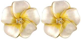Nobrand No Brand GOLD PLATED CRYSTAL HIBISCUS FLOWER EARRINGS MADE WITH SWAROVSKI ELEMENTS WHITE AND YELLOW