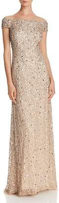 Adrianna Papell Off-the-Shoulder Sequined Gown