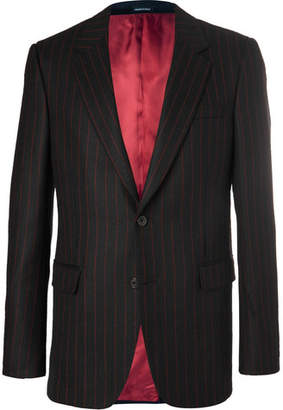 Alexander McQueen Black Slim-Fit Pinstriped Wool-Twill Suit Jacket