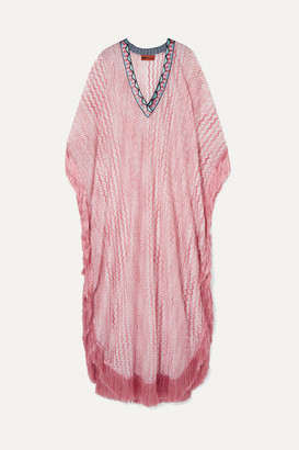 Missoni Mare Fringed Embroidered Crochet-knit Kaftan - Pink