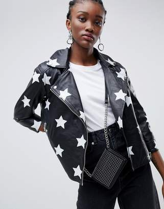 Muu Baa Muubaa Nova applique star leather biker jacket
