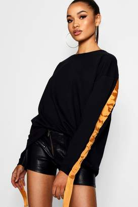 boohoo Tall Sports Tape Sweat
