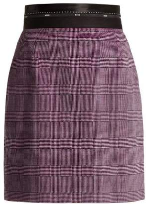 MSGM Prince Of Wales Check Stretch Cotton Velvet Skirt - Womens - Light Pink