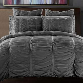 California Design Den Ruffled Comforter Set Charcoal Full/Queen