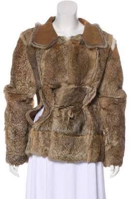 BCBGMAXAZRIA Notch-Lapel Fur Coat