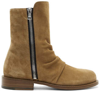 Amiri Tan Suede Stack Boots